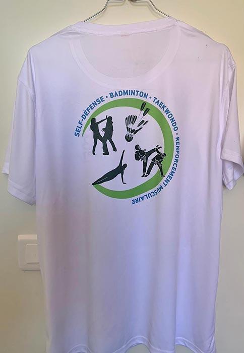 photo du dos du Tshirt SPTR: blanc, col rond, logo des activités du club