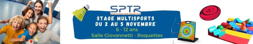 banniere stages multisports à Roquettes vacances de Toussaint 2021