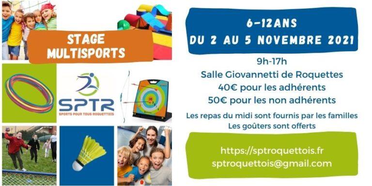 stage multisports vacances de Toussaint 2021 avec SPTR à Roquettes